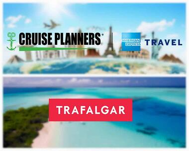 Cruise Planners, American Express Representative travel logo with Trafalgar logo
